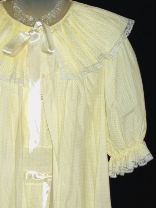 Yellow Polka Dot Mini Pleated Peignoir Set