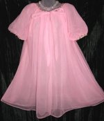 Vanity Fair Pink Peignoir Embroidered Trim