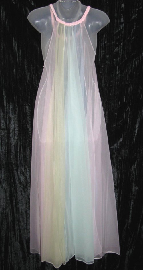 Multi Color Pastel Panel Sheer Chiffon Nightgown