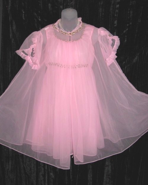 Pink Sheer Chiffon Embroidered Empire Peignoir