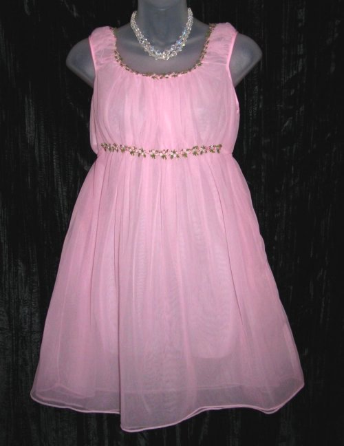 Pink Sheer Chiffon Embroidered Empire Nightgown